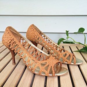 Zara Woven Basket Weave Leather Heels